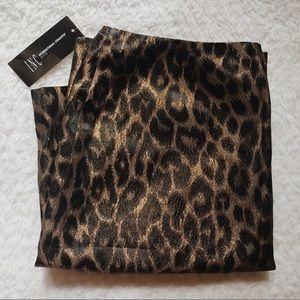 I-N-C    HOST PICK Leopard Gold Print Mini Skirt